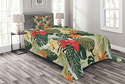 (Lunarable Leaf Bedspread Set Twin Size, Hawaiian Summer Tropical Island Vegetation Leaves with Hibiscus Flowers, Decorative Quilted 2 Piece Coverlet Set with Pillow Sham, Orange Yellow)