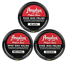 Angelus Shoe Wax Polish Black, Brown, Neutral Variety 3 Pack