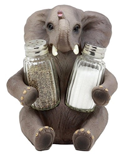 (Ebros Pachy Spice African Bush Elephant Glass Salt & Pepper Shakers Holder Figurine Decor 7