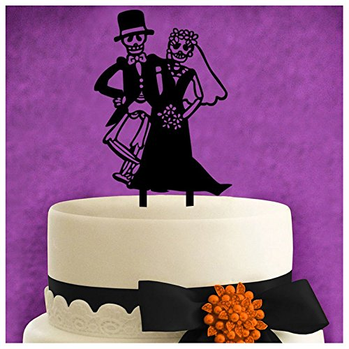 Halloween Decorations Black Acrylic Skull Etc Cake Fancy Party Inserted Card - Card Card