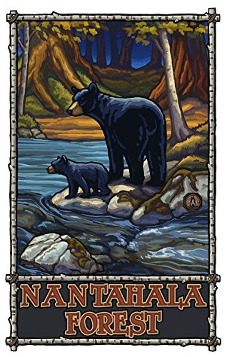 Nantahala Forest North Carolina Bears In Stream Giclee Travel Art Poster by Artist Paul A. Lanquist 304 x 44 inch) Art Print for Bedroom, Family Room, Kitchen, Dorm Room or Office Wall Décor