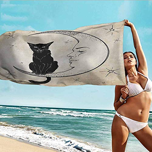 Baby Towel,Moon Black Cat Sitting on White Crescent Moon Contrasting Facial Expressions Feline,Home Hotel Office Washcloths,W40x10L, Sand Brown Black -