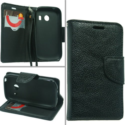 Samsung S766C Galaxy Stardust, LF Premium PU Leather Flip Wallet Credit Card Cover Case, Stylus Pen, Screen Protector & Wiper Accessories (Wallet Black)