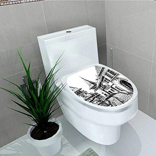 (Philip C. Williams Toilet Seat Wall Stickers Paper Peaceful City Drawing Restaurant Terrace Sketch Downtown Scene Black White Decals DIY Decoration W11 x L13)