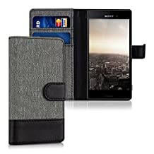 kwmobile Wallet case canvas cover for Sony Xperia M4 Aqua - Flip case with card slot and stand in grey black