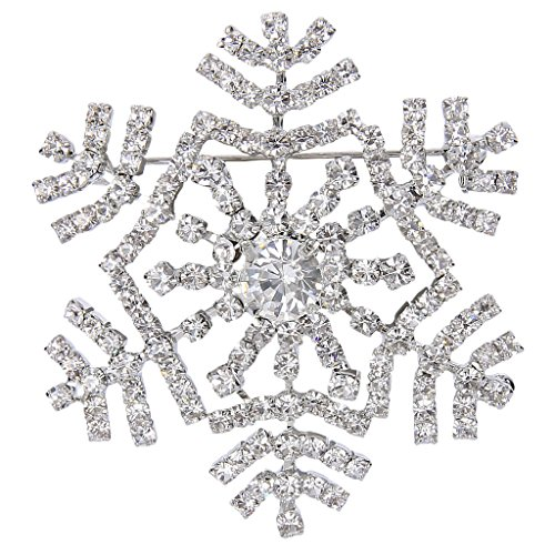 Snowflake Crystal Brooch (EVER FAITH Women's Austrian Crystal Elegant Winter Snowflake Flower Brooch Pin Clear Silver-Tone)