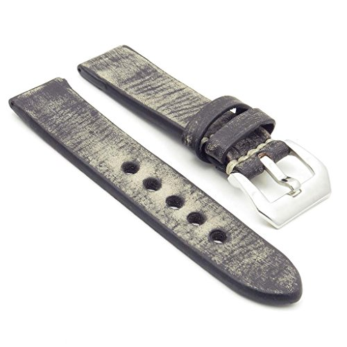 StrapsCo Thick Distressed Vintage Leather Watch Band w/ Pre-V (Distressed Leather Buckle)