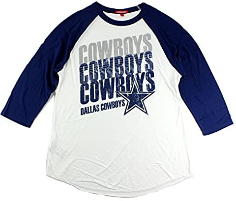 Dallas Cowboys Women's Triple Repeat 3/4 Sleeve Distressed Raglan T-Shirt (XX-Large) - Custom Raglan T-shirts