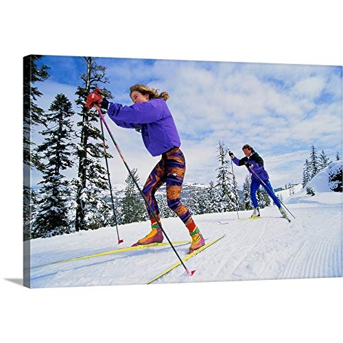 GREATBIGCANVAS Gallery-Wrapped Canvas Entitled Couple Cross-Country (Telemark or 'Nordic') Skiing by ()