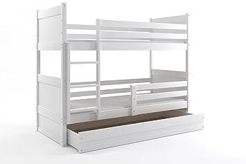 Litera para niños, mod. Rico, 190 x 80 cm, color blanco, colchones incluidos: Amazon.es: Hogar