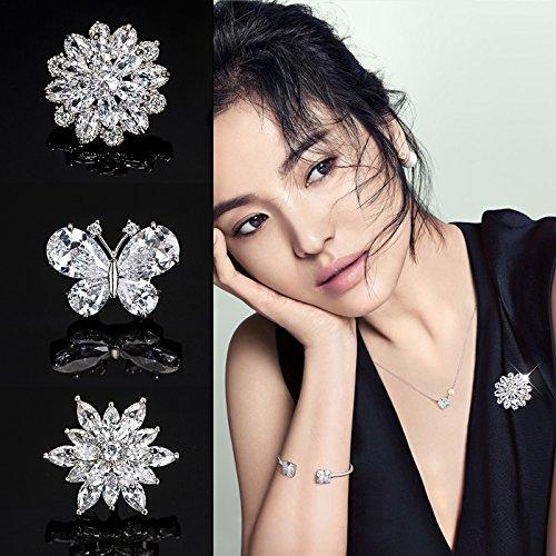 (Micro-fine pearl inlay zircon small daisy brooch collar pin women girls Korean brooch barbed horse needle)