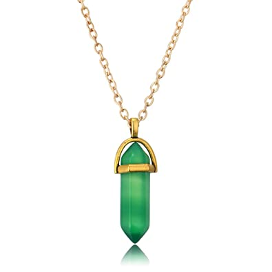 GAOZONGTER Green Artificial Gemstone Pendant Necklace Natural Quartz  Crystal Point Chakra Healing Stone (Pack Of 2), Brand Name : GAOZONGTER