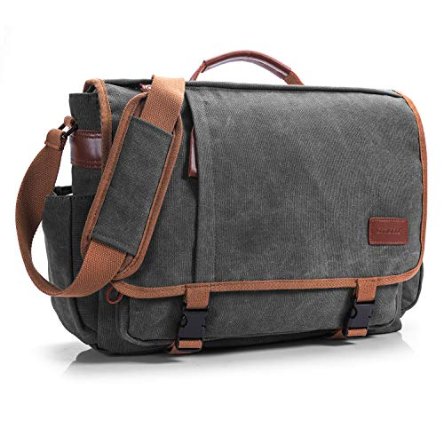 CoolBELL Messenger Bag 15.6 Inch Canvas Briefcase School Shoulder Bag Laptop Case Mens Handbag Business Briefcase Multi-Functional Travel Bag for Men/Work / College/Student (Dark Grey) by CoolBELL