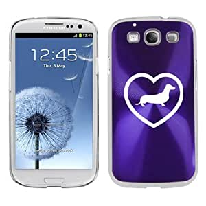 Purple Samsung Galaxy S III S3 Aluminum Plated Hard Back Case Cover K1007 Heart Love Dachshund Puppy Dog
