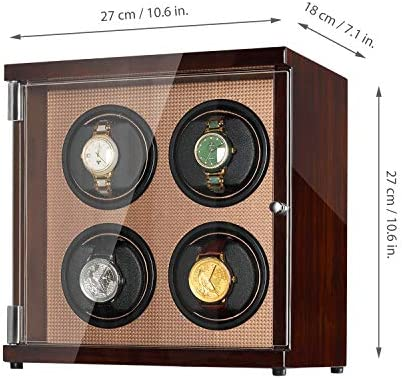 CHIYODA Quad Watch Winder for Automatic Watches, Inserted Premium Elastic Pillows, LCD Touch Display
