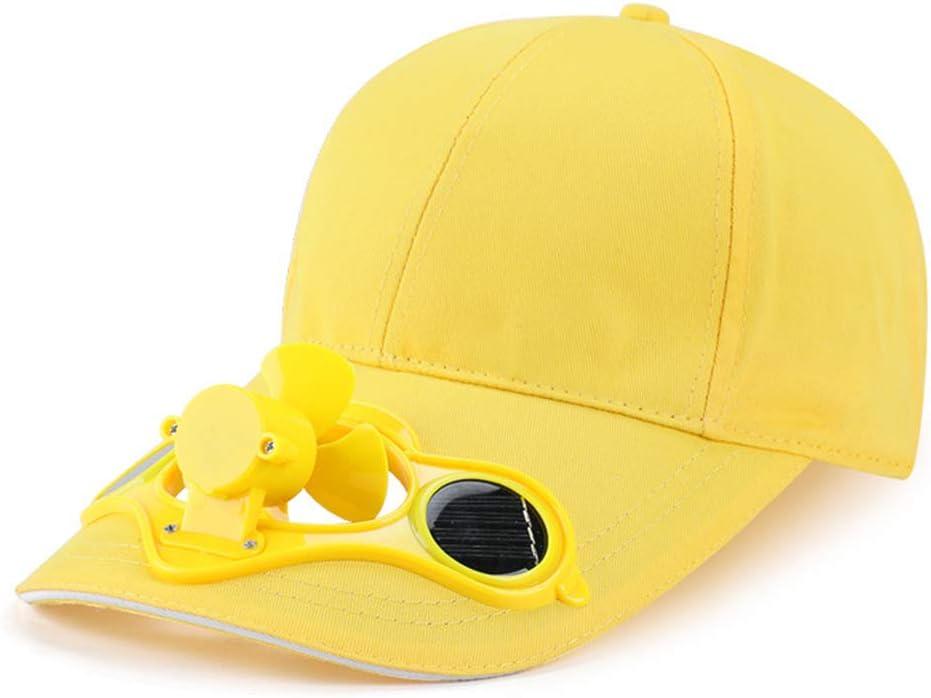 Amarillo WE-WHLL Gorra de b/éisbol con Ventilador de refrigeraci/ón Solar con Panel Solar de Verano Sombrero de Visera para el Sol con Visera Exterior