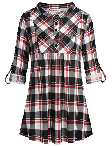 Helloacc Business Casual Clothes for Women,Formal Tunic Tops 3/4 Roll-up Sleeve in XL Button Down Checkered Shirts Trendy Tee Outfit Mandarin Collar Undershirt Hip Length Loose Fitting Cute Black Red