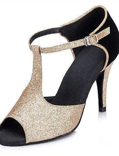 La mode moderne Sandales femmes personnalisables ballroom Chaussures de danse Latine Salsa Glitter mousseux/sandales talon sur mesure piscine intérieure/Performance, Golden,US7.5/UE38/UK5.5/CN38