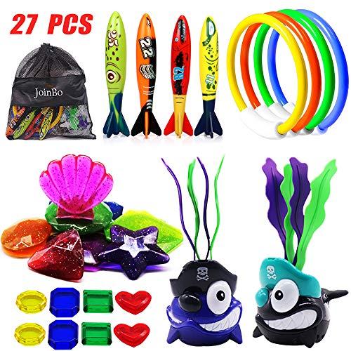 JoinBo 27 Pcs Underwater Swimming / Diving Pool Toy, New Diving Shark Seaweed (2Pcs), New Shiny Diving Big gem (8Pcs), Small gem (8Pcs), Rings (4 pcs), Torpedo Bandits (4Pcs).