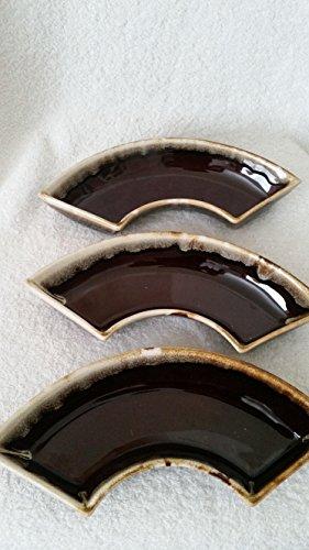 Vintage Pfaltzgraff Gourmet Pattern Brown Drip Graze #308 Segmented Serving Dish Three (3) in Set