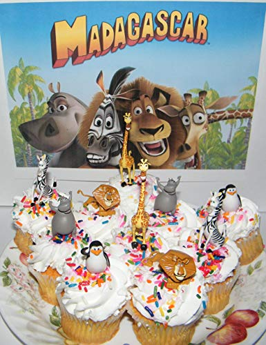 Madagascar Movie Toy Figure Cake Toppers/Party Favors/Cup Cake Decorations Set of 10 with Skipper, Marty, Melman, Alex and Gloria! -