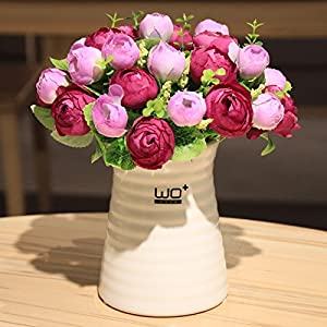 Situmi Artificial Fake Flowers Modern Style Camellia Ceramic Vases Potted Plants Decoration Purple Home Accessories 61