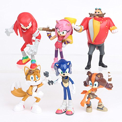 Max Fun Set of 6pcs Sonic the Hedgehog Action Figures, 5-7cm Tall Cake toppers-Collect Sonic, Knuckles, Tails, Amy and evil Dr. (Hedgehog Tails)