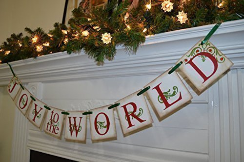 joy to the world banner christmas banner mantle garland red green antique christmas