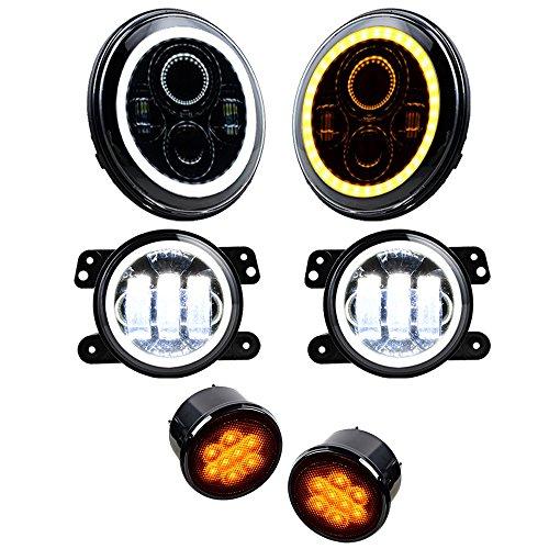 Price comparison product image Set for 07-17 Jeep Wrangler 7'' Headlight + 4'' Fog Lamp Halo Ring + Turn Signal Light + Side Maker LED Lighting