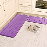 "Kitchen Rugs, CAMAL 2 Pieces Non-Slip Memory Foam Stripe Kitchen Mat Rubber Backing Doormat Runner Rug Set (16""x24""+16""x48"", Purple)"