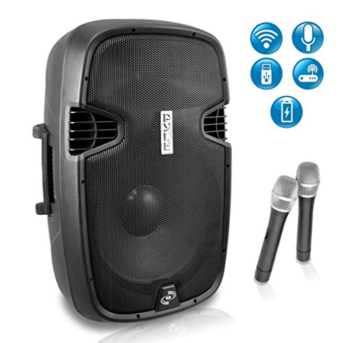 Pyle Tweeter Microphone - Portable PA Bluetooth Speaker System - 1000W Active Powered Home Outdoor Speaker w/ 12