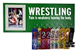 Wrestling medal display - PAIN IS WEKANESS LEAVING THE BODY - Gift for wrestler - Wrestling awards hanger - Wrestling ribbons plaque hanger