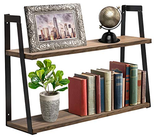 Sorbus 2-Tier Wooden Floating Shelf with Metal Brackets - Wall Mounted Rustic Industrial Wood Storage Wall Shelves for Home Décor in Living Room, Bathroom, Entryway -