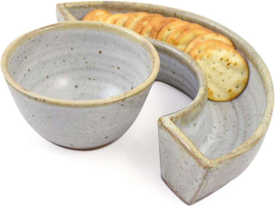 Simply Modern Pottery Collection: 三日月クラッカートレイとディップボウル バニラウィス製 アメリカ製