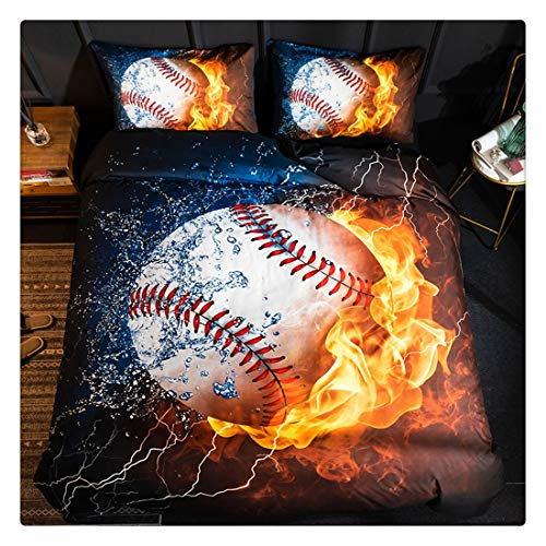 Homebed 3D Sports Baseball Bedding Set for Teen Boys,Duvet Cover Sets with Pillowcases,Twin XL Size,3PCS,1 Duvet Cover+2 Pillow Shams - Gold 3d Baseball