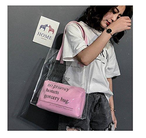 De La Hombro Nuevo Del Bolso De Pvc Pink Negro La Jalea De Bolso Transparente GWQGZ Moda p17Bxqnz1