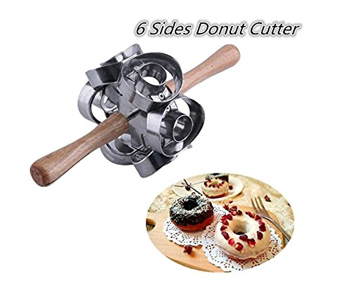 FashionMall Metal Revolving Donut Cutter Maker Machine Mold Pastry Dough Baking Roller For Cooking Baking,6 Shapes (1)