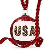 Christmas Decoration USA Cheetah Cat Animal Print Ornament