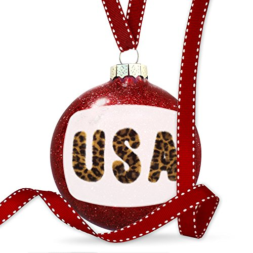 Christmas Decoration USA Cheetah Cat Animal Print Ornament by NEONBLOND