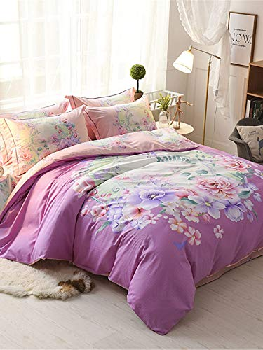 KMXDJHIN 4 Pcs Duvet Cover Set Sweet Floral Printing Stylish Comfy Bedlinens Set Pink 2.0m Flat Bed Sheet