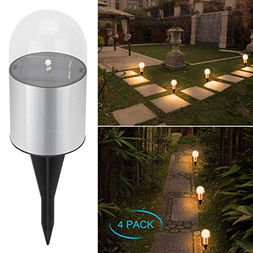 Adecorty Solar Garden lights - Bright Solar Pathway Light Outdoor Waterproof Solar Stake Lights Auto On/Off Sun Powered Landscape Lighting for Yard Patio Lawn Path Walkway Driveway(Warm White, 4 -