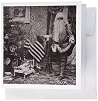 Scenes from the Past Vintage Stereoview - Patriotic Santa Vintage Christmas Grayscale - 12 Greeting Cards with envelopes (gc_6745_2)