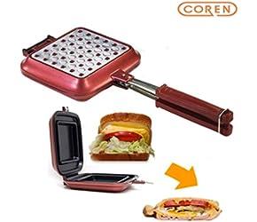"""[COREN] Sentopan 14.8"""" x 6.3"""" x 1.6"""" Nonstick Double Side Pressure Pan, Omelette, Sandwich, Steak, Fry Pan, Induction Ready, Dishwasher Safe, Made in Korea"""