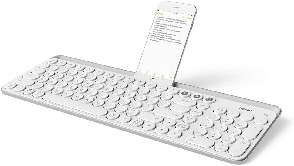 Bluetooth Multi-Device Keyboard, MIIIW Ultra Slim Wireless Keyboard with Round Numeric Keypads, Works for PC, Desktop, Laptop and Phones - Easy Switch up to 2 Devices, White