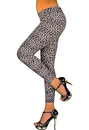 Amour-Women Popular Full Leopard /Zebra Print Animal Pattern Ankle Length Footless Legging Tregging Tight (leopard)