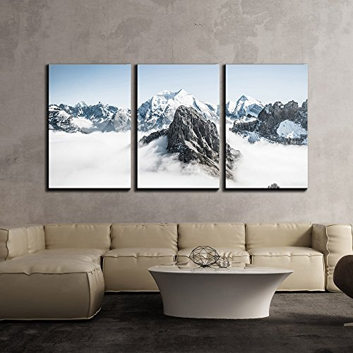 Mountain Peak Surrounded by Cloud x3 Panels
