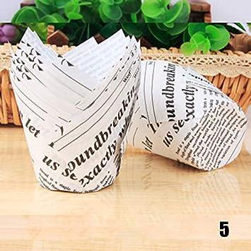 Samseed Lot de 50 caissettes en Papier pour Cupcakes et Muffins Motif Tulipes
