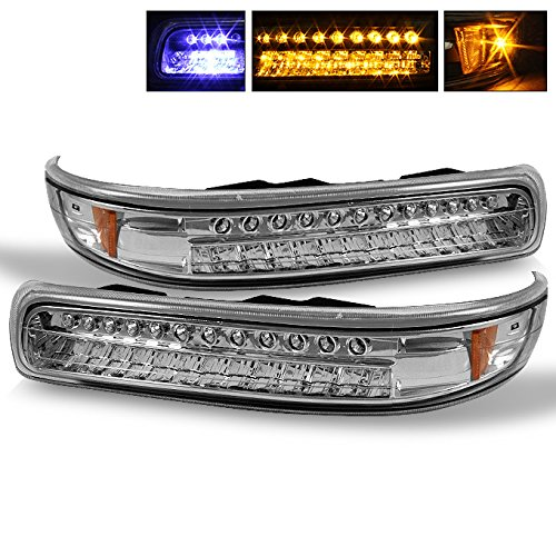 (For Chevy Silverado Suburban Tahoe Chrome Clear Amber LED Front Bumper Signal Lights Lamps Assembly)