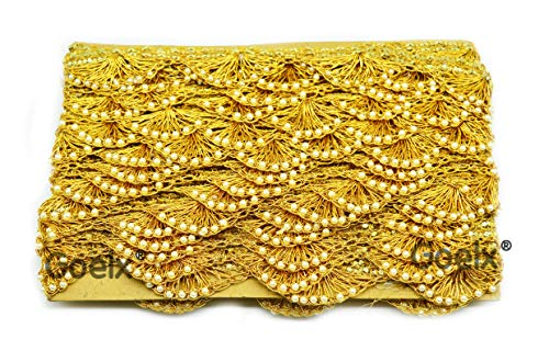 Pankh Border Original Handmade Moti Pearl Bead Embellished Lace for Dresses, Sarees, Suits, Blouses, Dupattas, Bags, Bed Covers, Art & Craft in Mustard Gold with White Color Pack of 9 - Saree Border