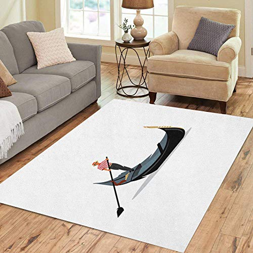 Semtomn Area Rug 5' X 7' Venice Gondola Gondolier Rowing Oar Sign Italy Travel Italian Home Decor Collection Floor Rugs Carpet for Living Room Bedroom Dining Room (Old Man And The Sea Boat Name)